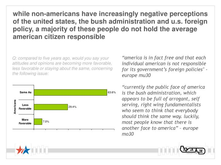 while non-americans have increasingly negative perceptions of the united states, the bush administration and u.s. foreign policy, a majority of these people do not hold the average american citizen responsible