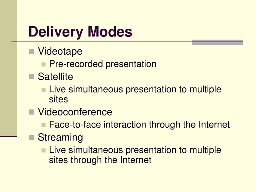 Delivery Modes