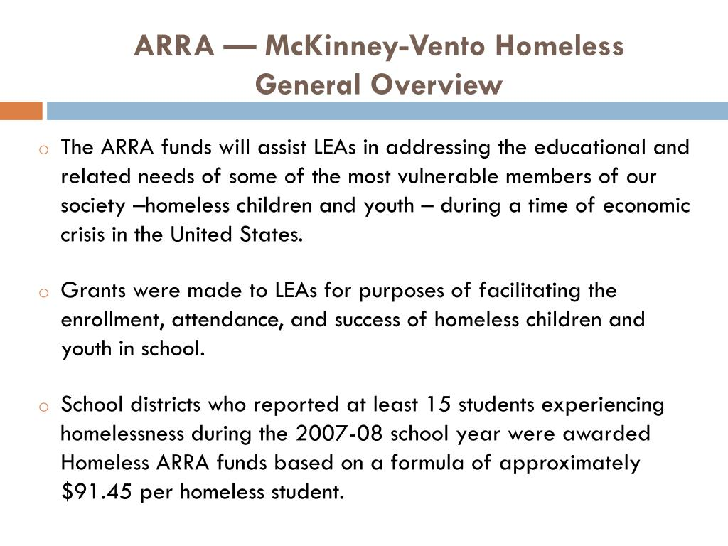 ARRA — McKinney-Vento Homeless