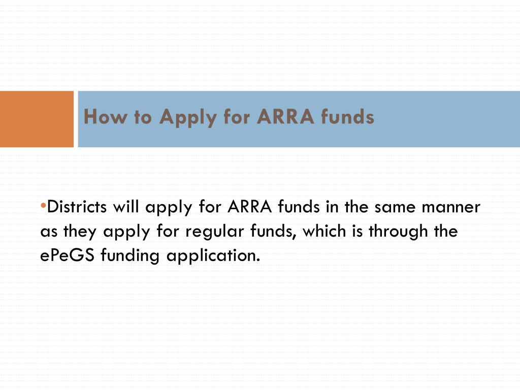 How to Apply for ARRA funds