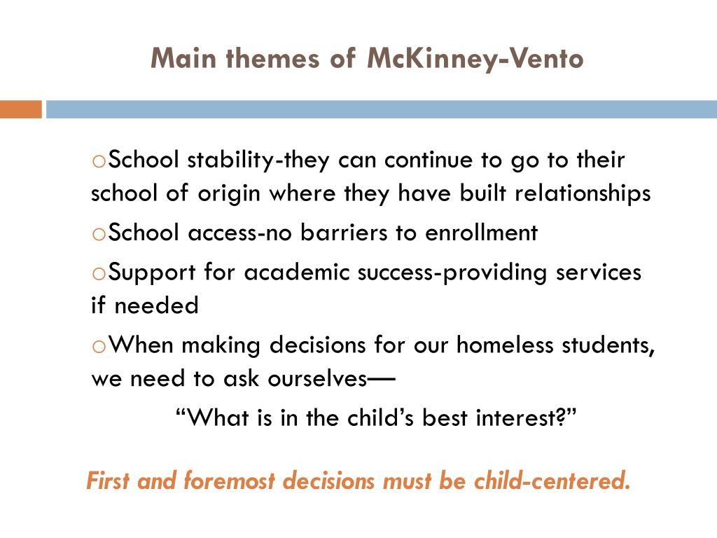 Main themes of McKinney-Vento