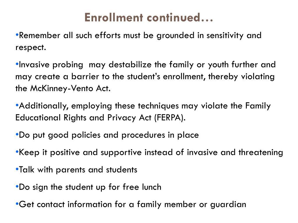 Enrollment continued…