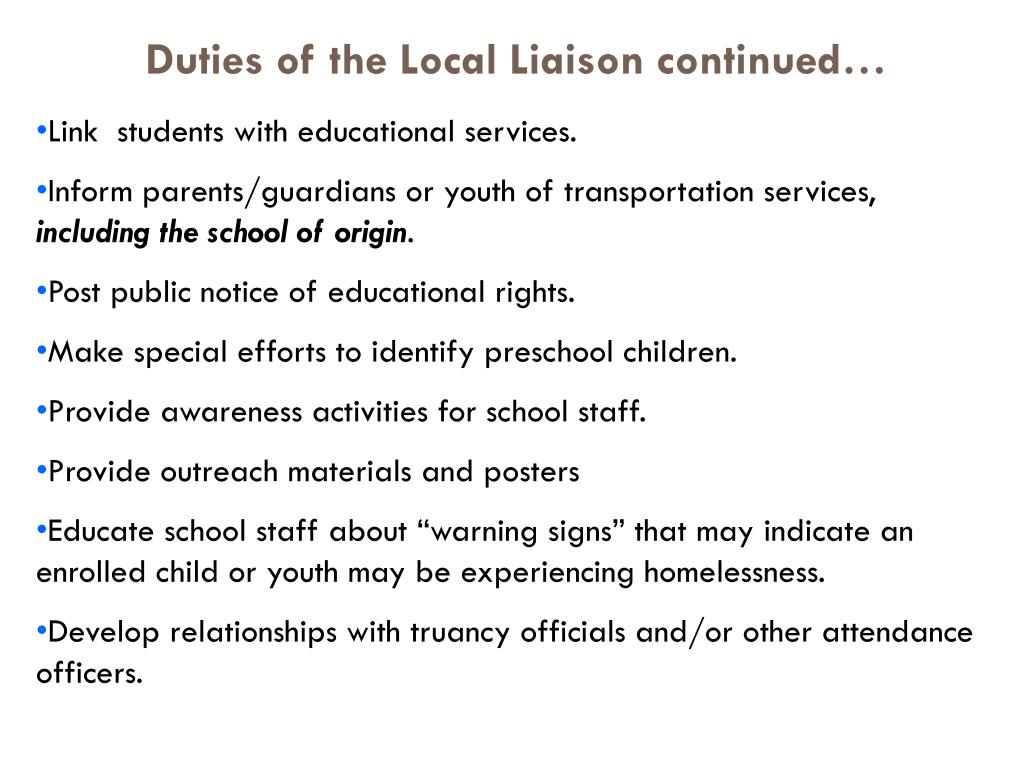 Duties of the Local Liaison