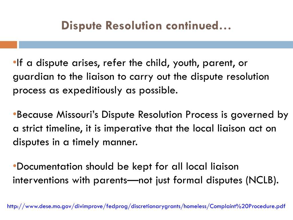 Dispute Resolution c