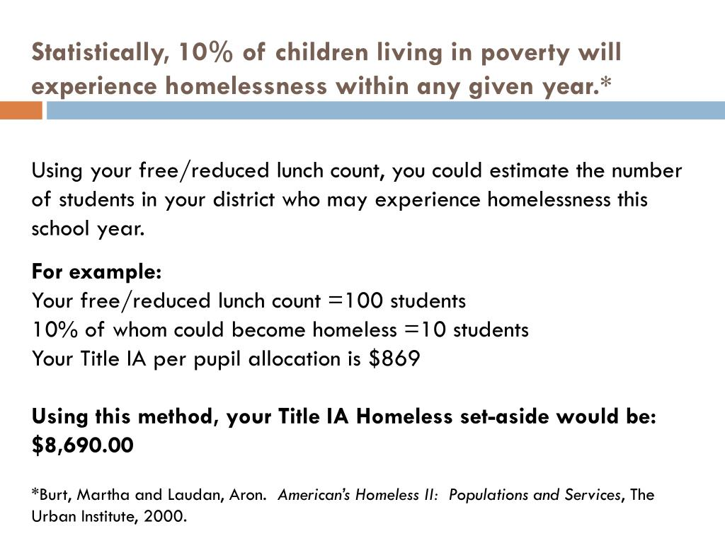 Statistically, 10% of children living in poverty will experience homelessness within any given year.*