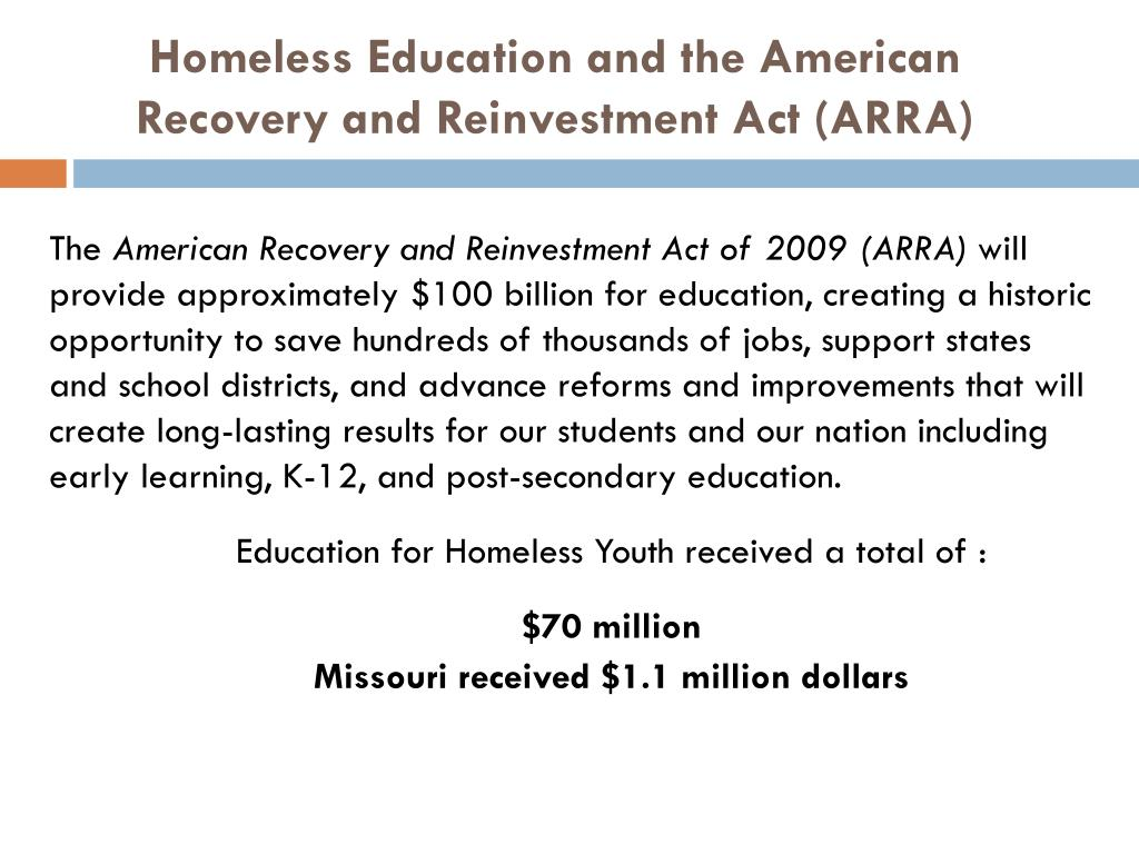 Homeless Education and the American Recovery and Reinvestment Act (ARRA)