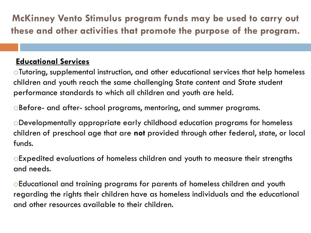 McKinney Vento Stimulus program funds may be used to carry out these and other activities that promote the purpose of the program.