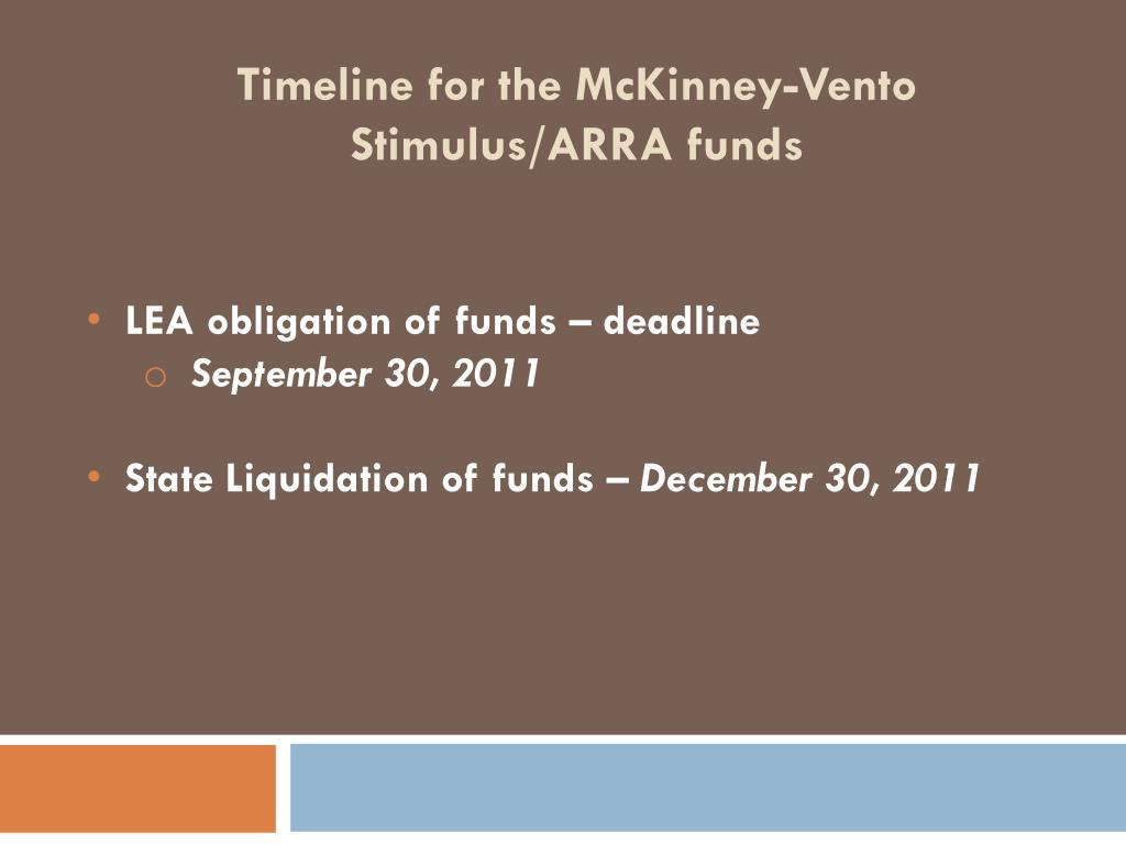 Timeline for the McKinney-Vento Stimulus/ARRA funds