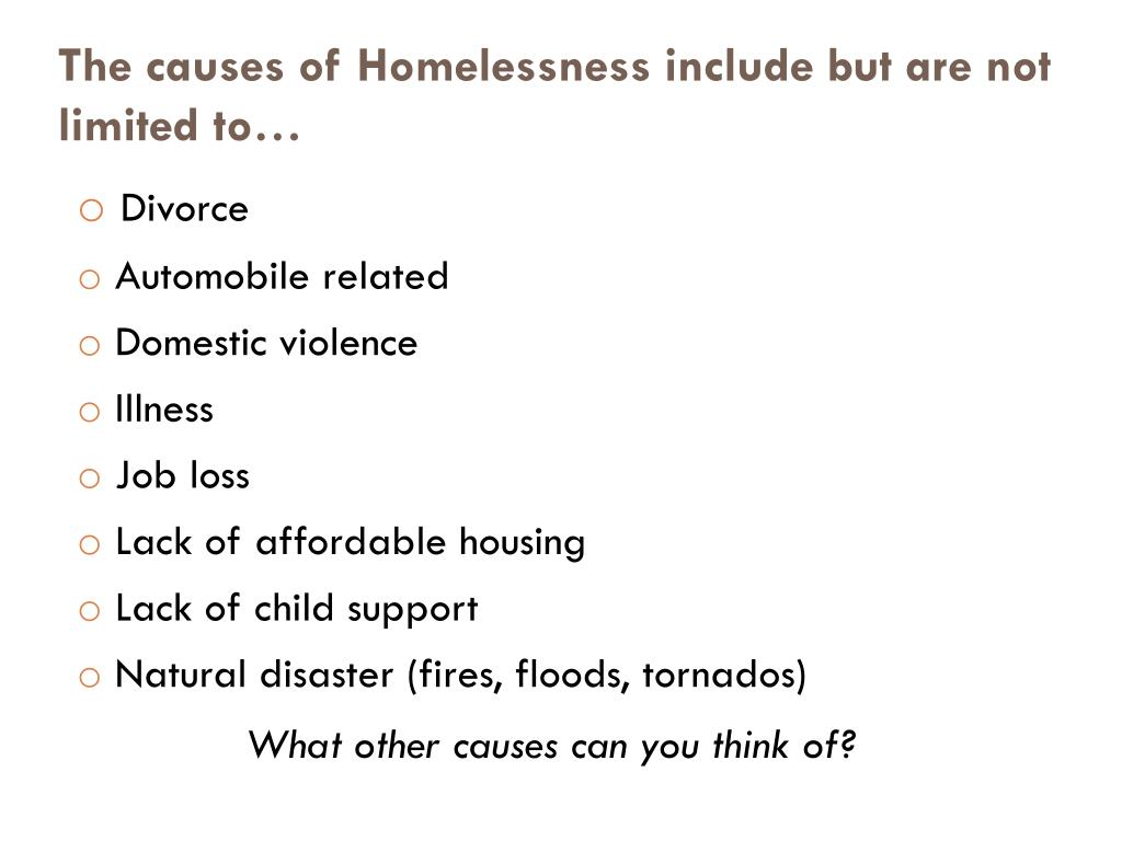 The causes of Homelessness include but are not limited to…