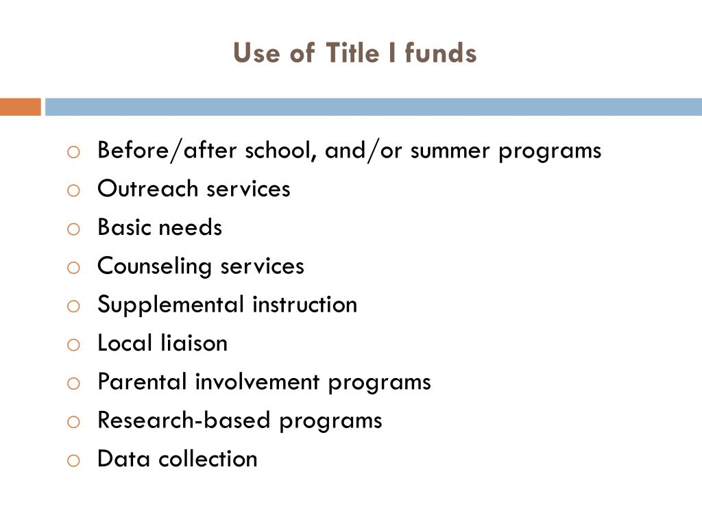 Use of Title I funds