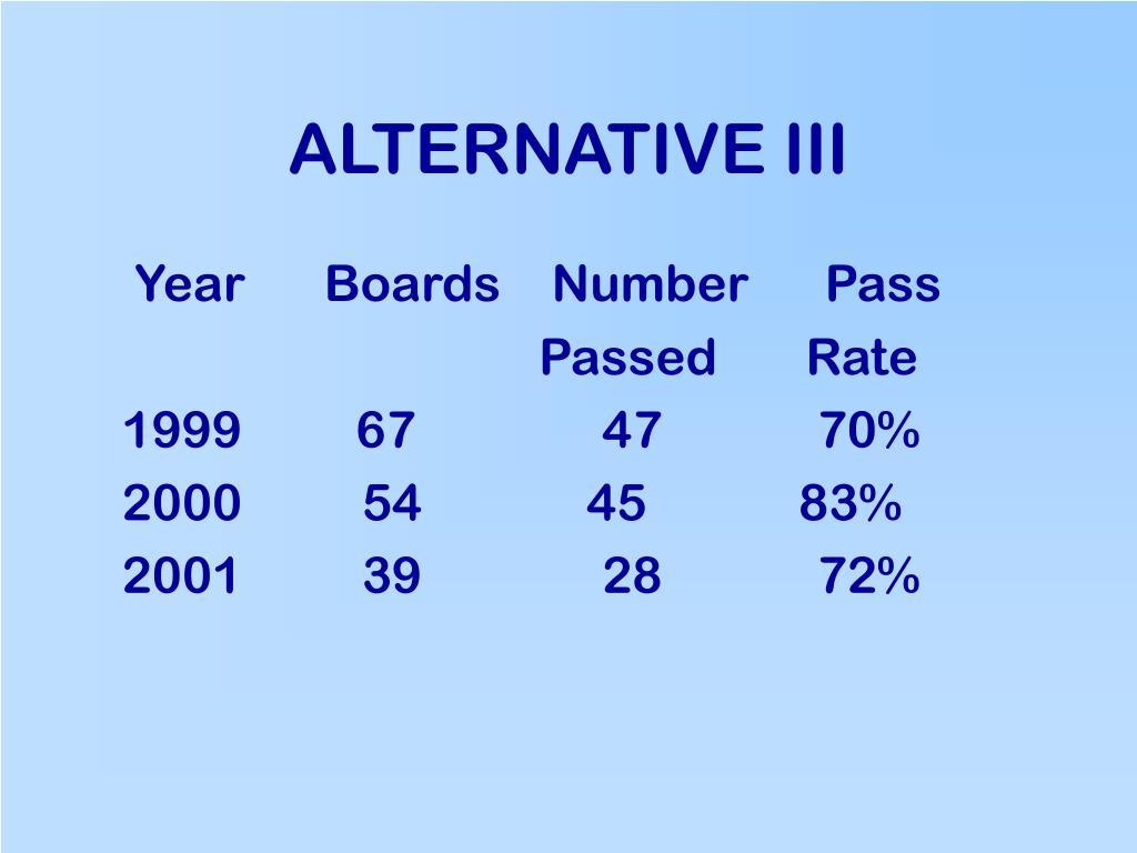 ALTERNATIVE III
