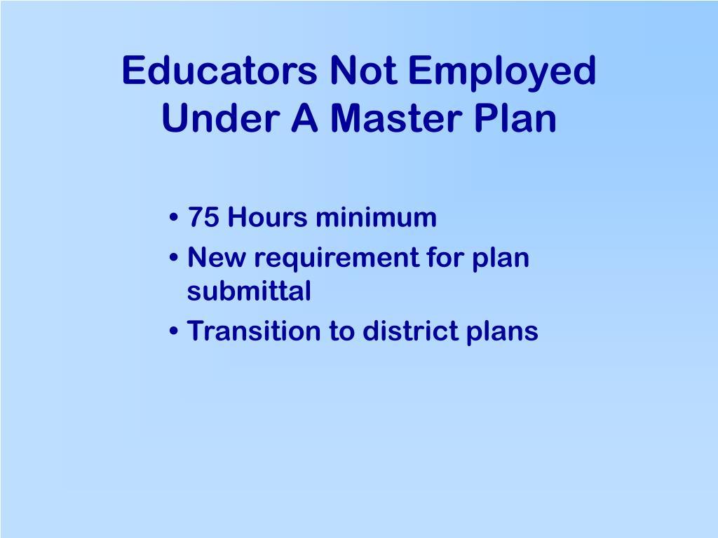 Educators Not Employed