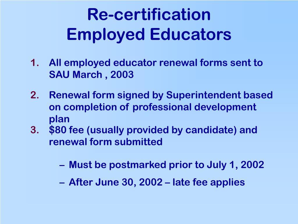 Re-certification