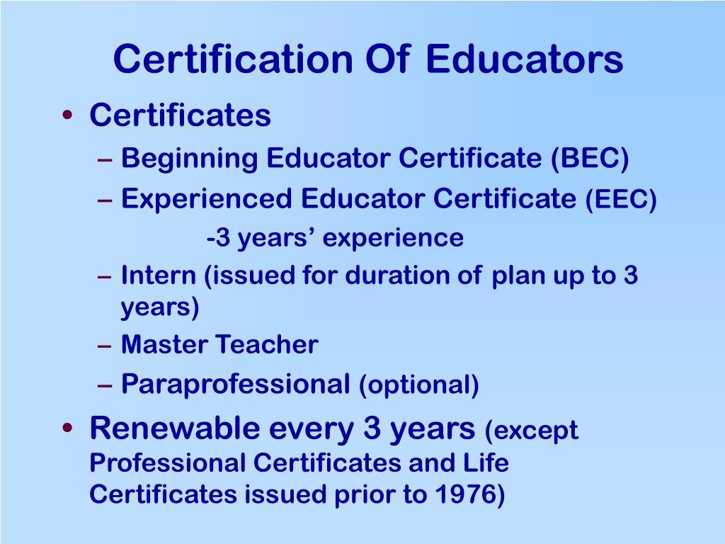 Certification Of Educators