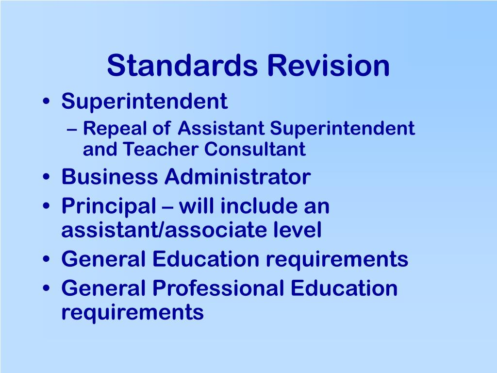 Standards Revision