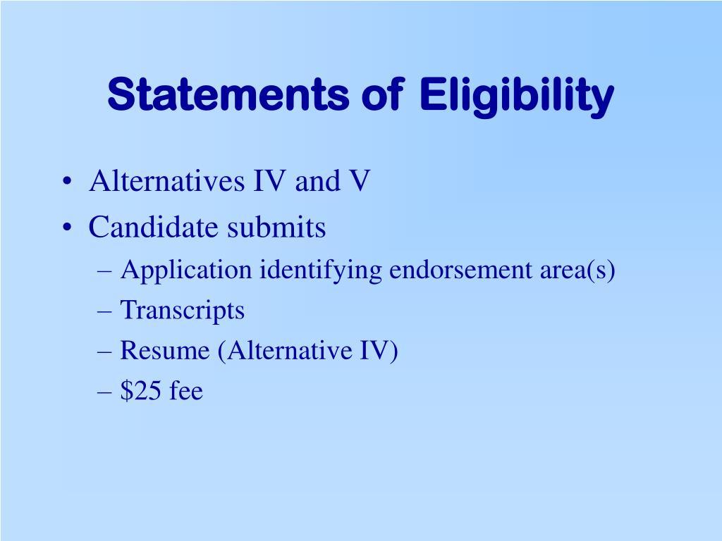 Statements of Eligibility