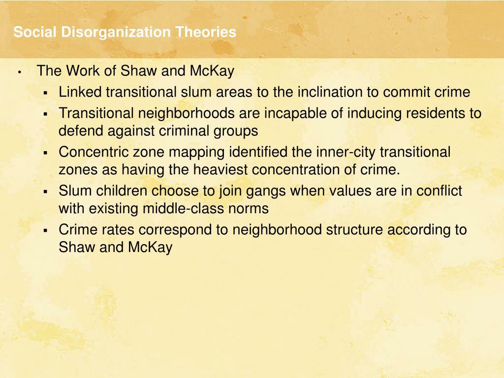 Social Disorganization Theories
