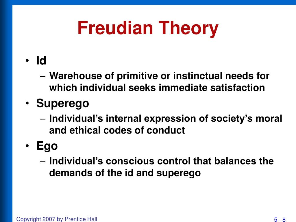 freudian theory 2011-06-06 • freud's theory of personality that attributes thoughts and actions to unconscious motives and conflicts the techniques used in treating disorders by exposing and interpreting unconscious tensions 10 11 model of mind.