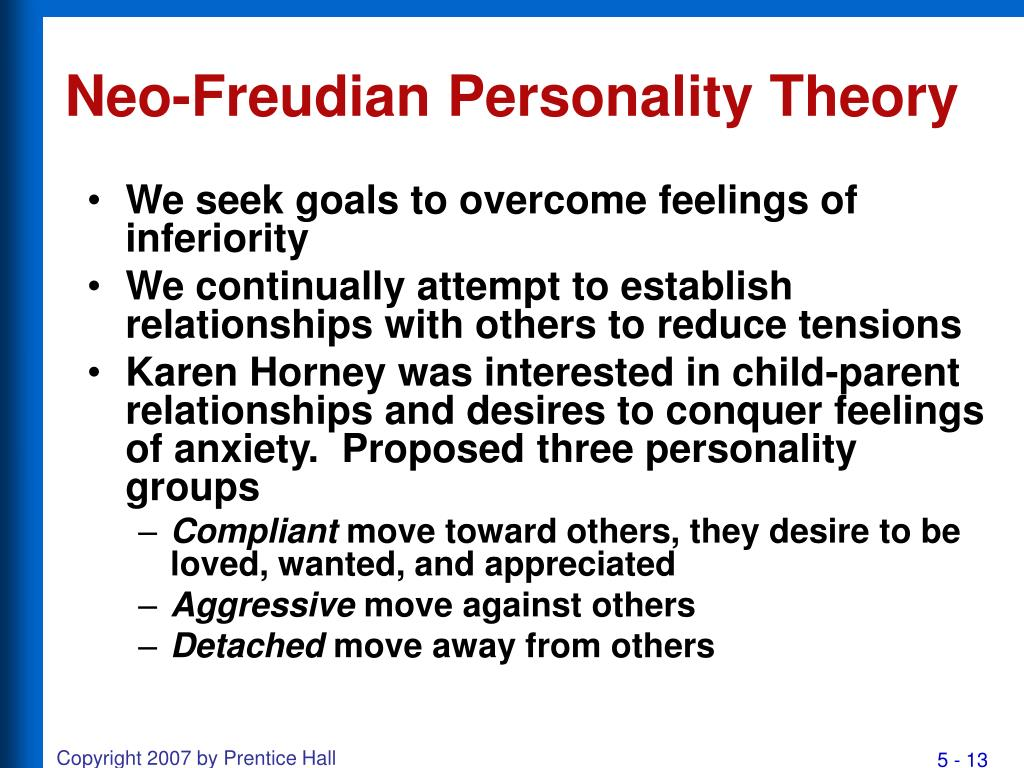 freudian and neo freudian psychoanalysis theories The neo-freudian psychiatrists and psychologists were a group of loosely linked american theorists of the mid-twentieth century, who were all influenced by sigmund freud, but who extended his theories, often in social or cultural directions.