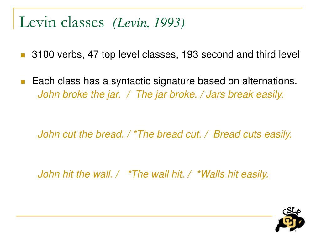 Levin classes