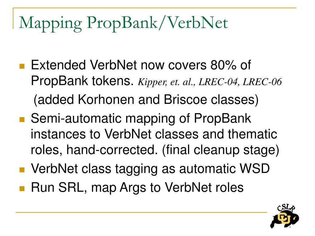 Mapping PropBank/VerbNet