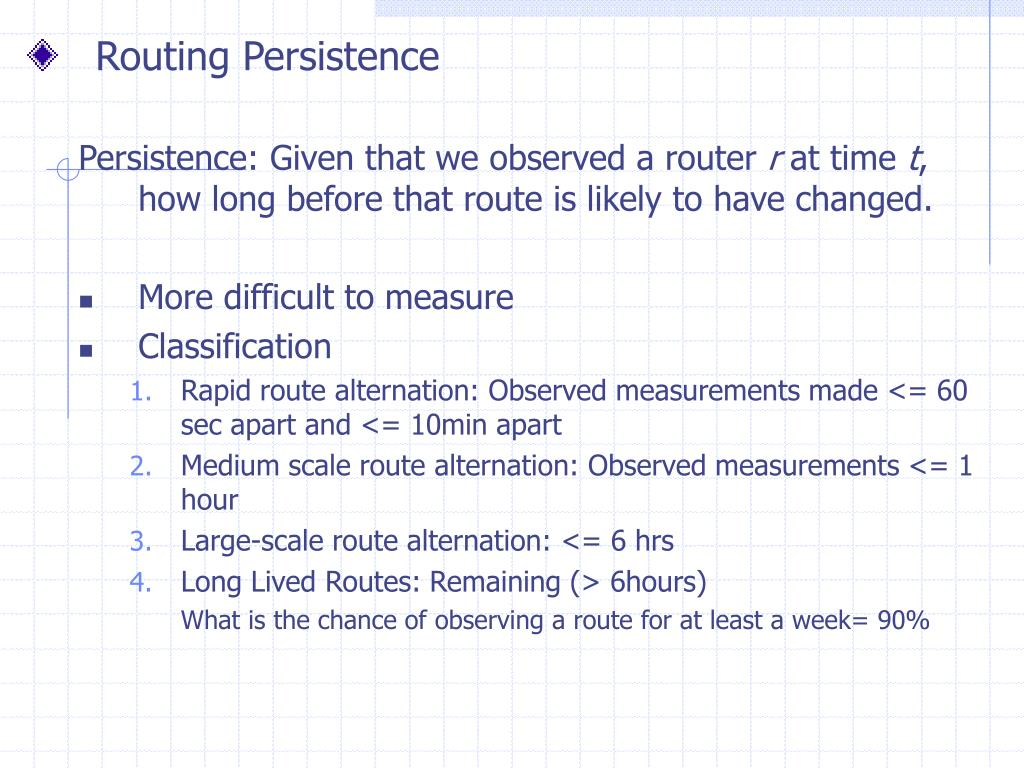 Routing Persistence