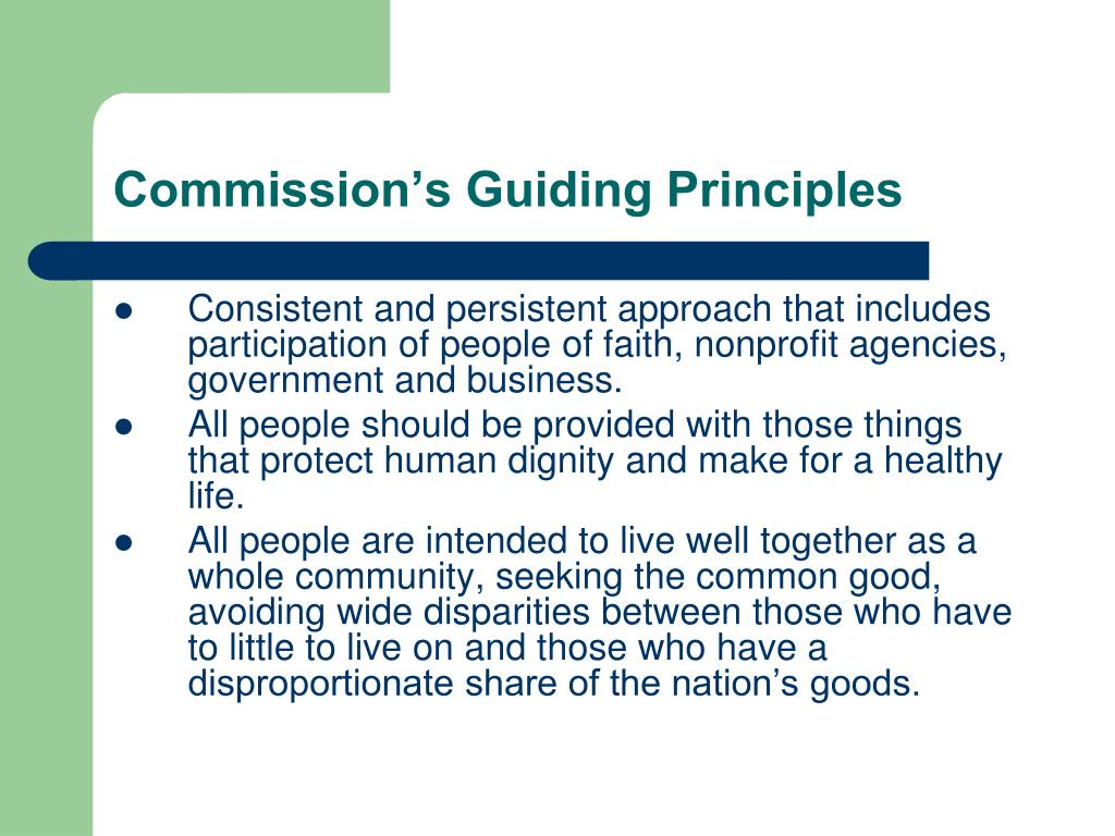 Commission's Guiding Principles