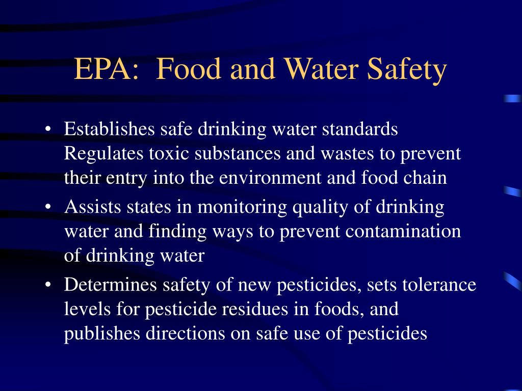 EPA:  Food and Water Safety