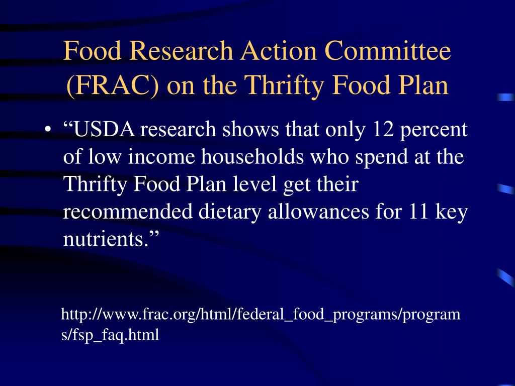 Food Research Action Committee (FRAC) on the Thrifty Food Plan