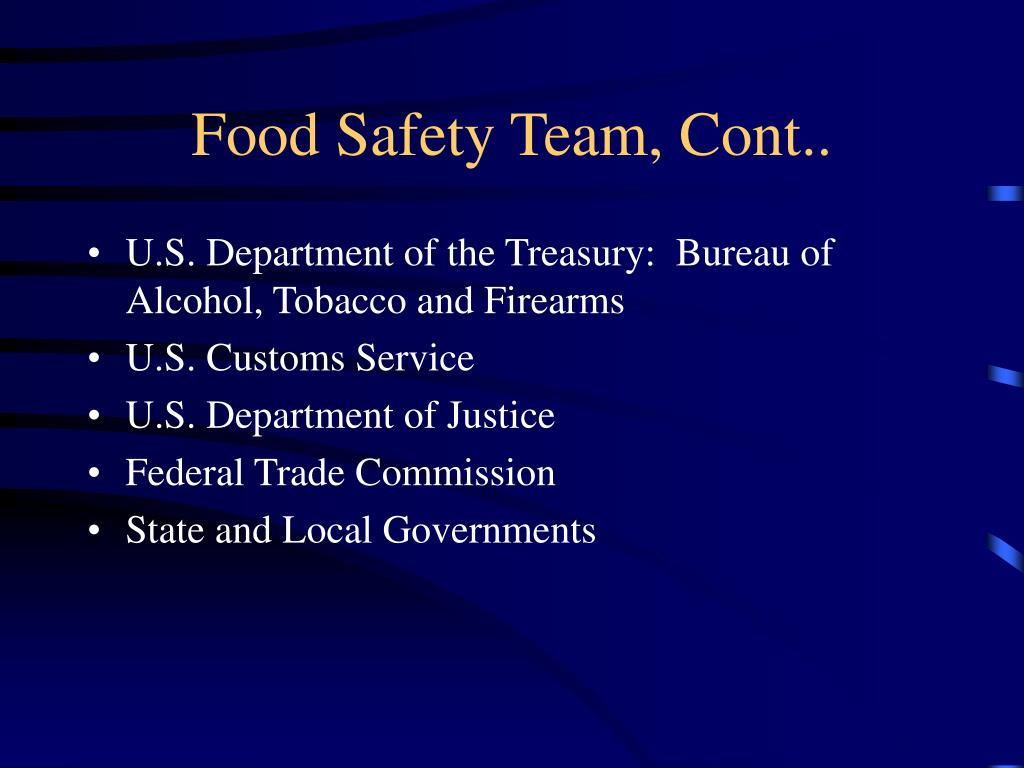 Food Safety Team, Cont..
