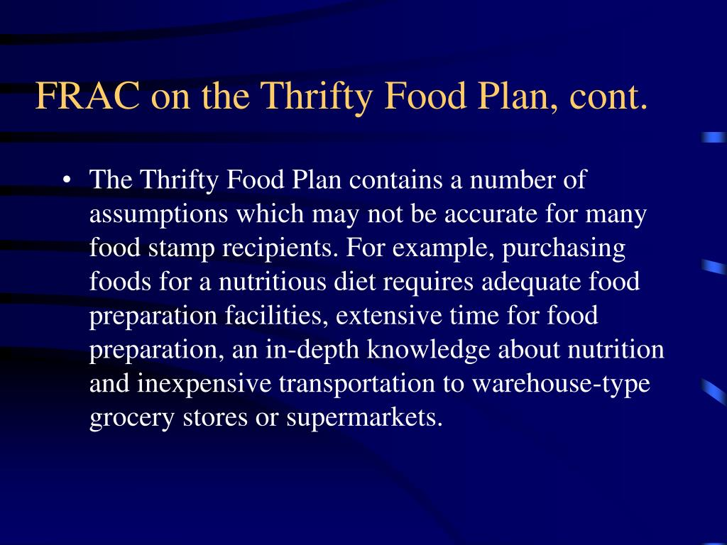 FRAC on the Thrifty Food Plan, cont.