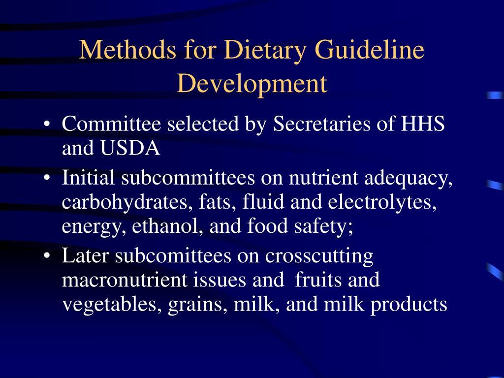 Methods for Dietary Guideline Development