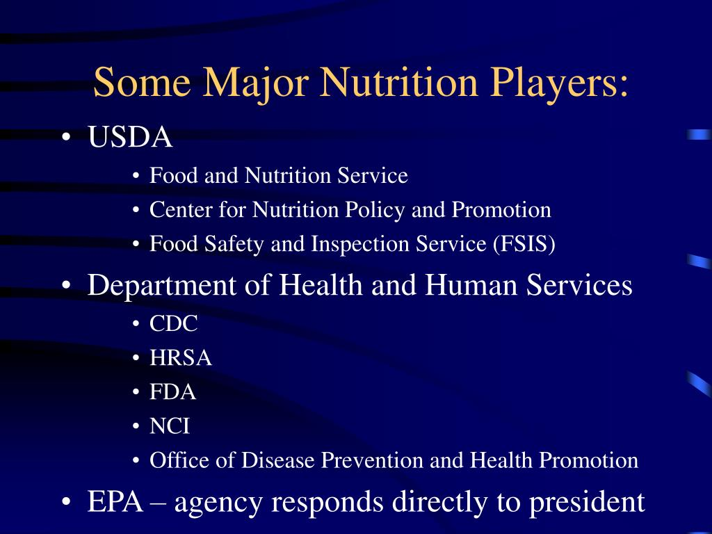 Some Major Nutrition Players: