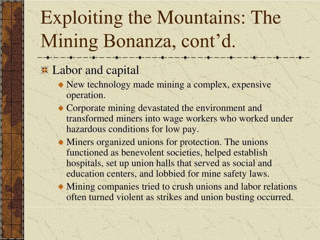 Exploiting the Mountains: The Mining Bonanza, cont'd.