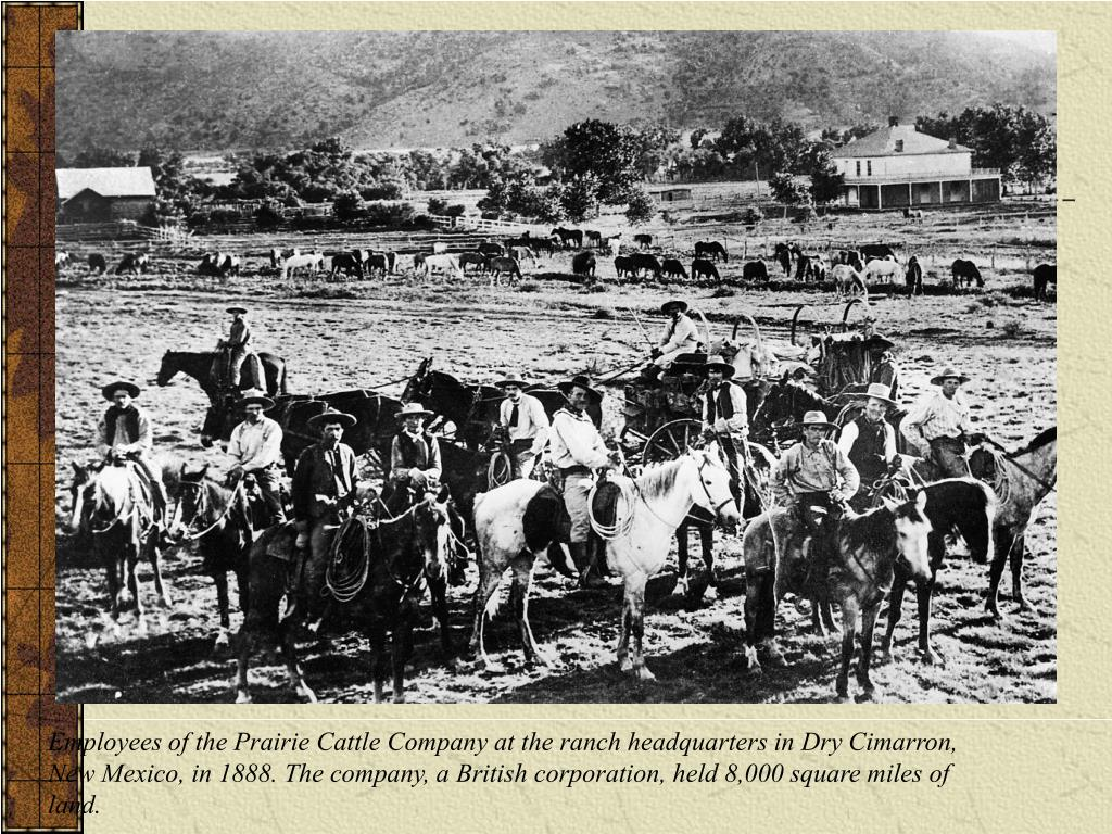 Employees of the Prairie Cattle Company at the ranch headquarters in Dry Cimarron,