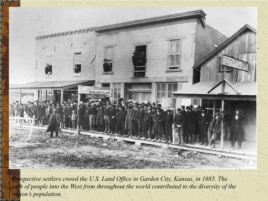Prospective settlers crowd the U.S. Land Office in Garden City, Kansas, in 1885. The
