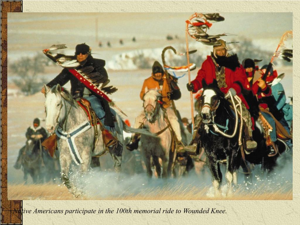 Native Americans participate in the 100th memorial ride to Wounded Knee.