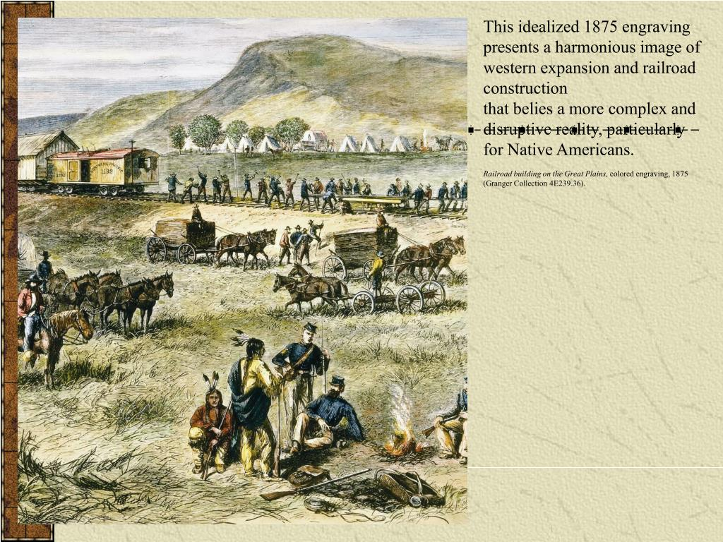 This idealized 1875 engraving presents a harmonious image of western expansion and railroad construction