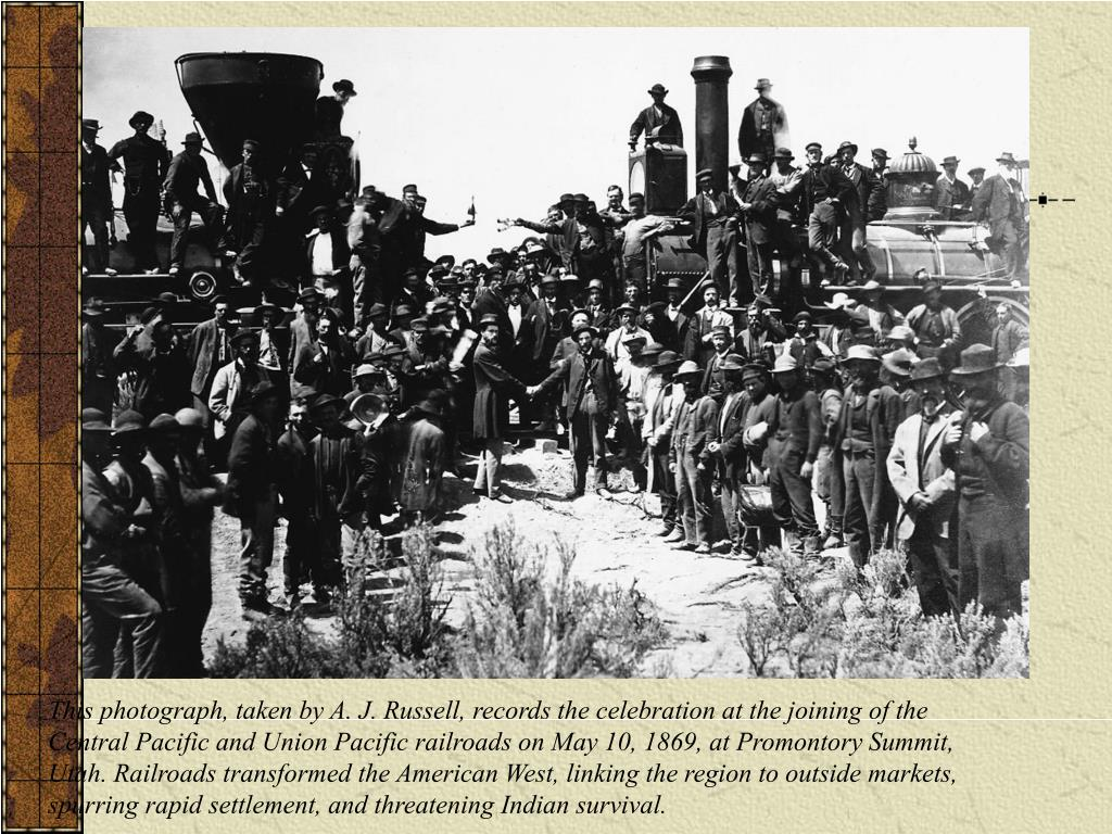 This photograph, taken by A. J. Russell, records the celebration at the joining of the