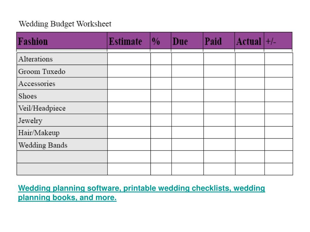 Wedding planning software, printable wedding checklists, wedding planning books, and more.
