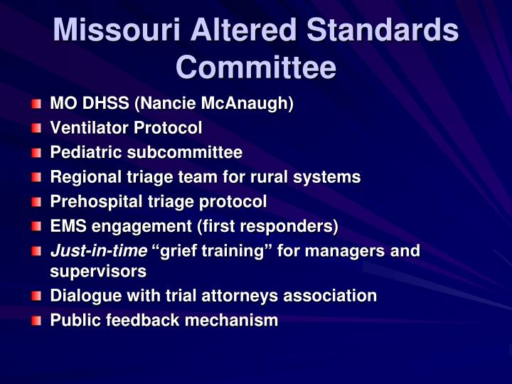 Missouri Altered Standards Committee