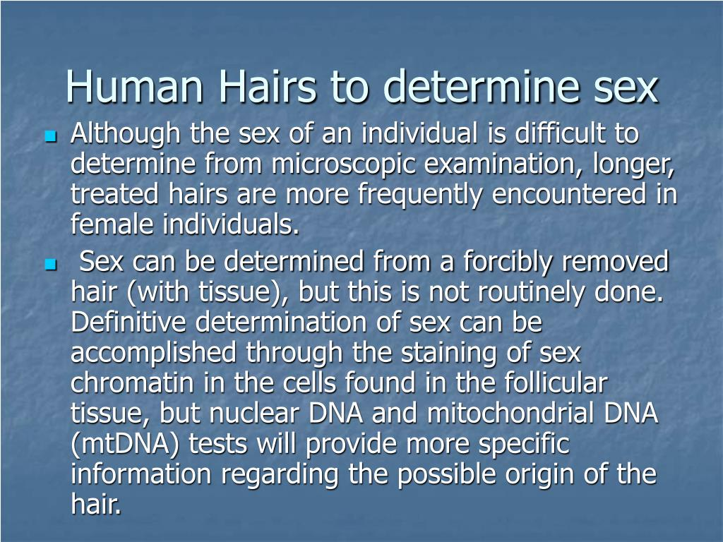 Human Hairs to determine sex