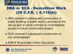 dba or sca demolition work 29 c f r 4 116 b