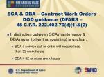sca dba contract work orders dod guidance dfars 48 c f r 222 402 70 d 1 2