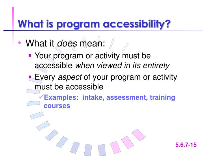What is program accessibility?