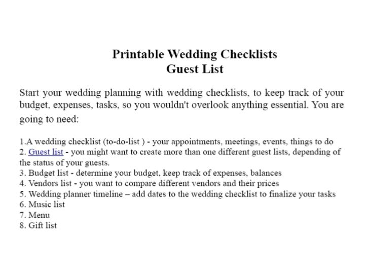 Printable wedding checklists guest list