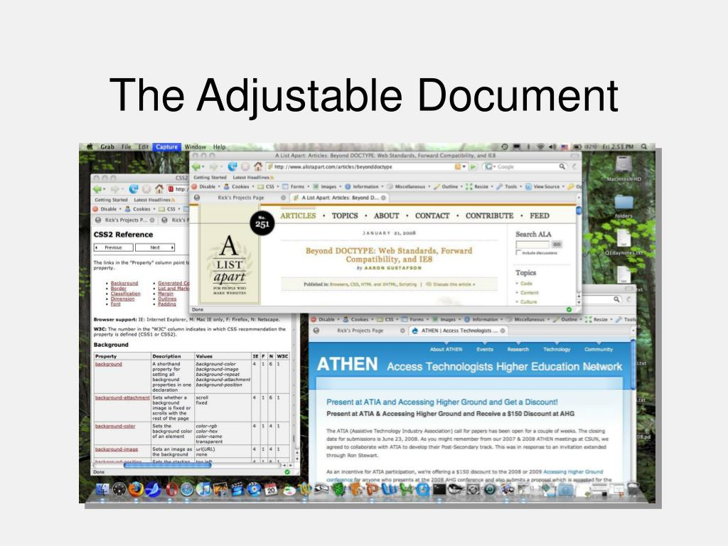 The Adjustable Document
