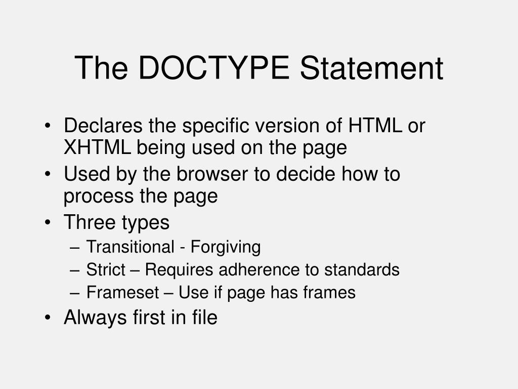 The DOCTYPE Statement