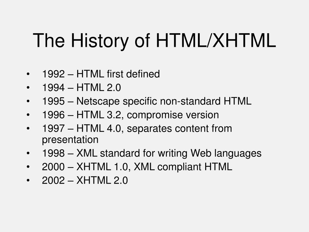 The History of HTML/XHTML