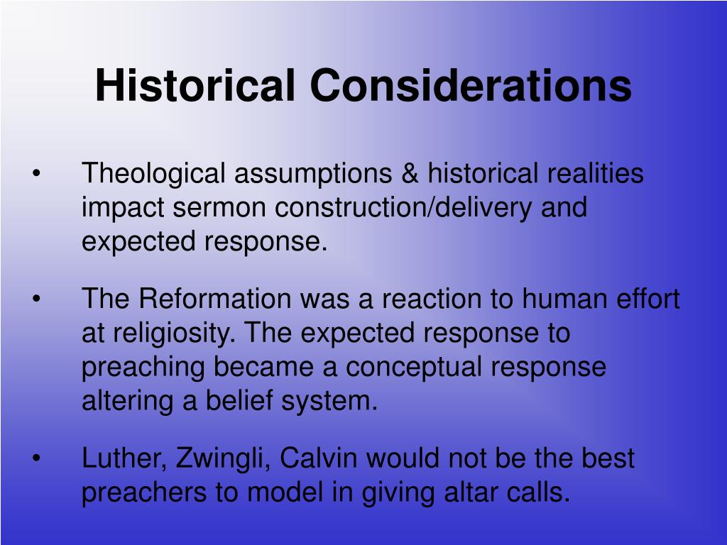 Historical Considerations